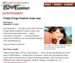 Eat, Pray, Laugh One Woman Show Covered in The San Francisco Examiner