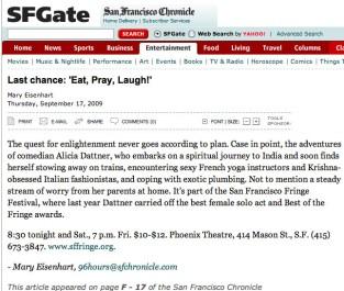 San Francisco SF Gate covers Eat, Pray, Laugh! Comedy Show