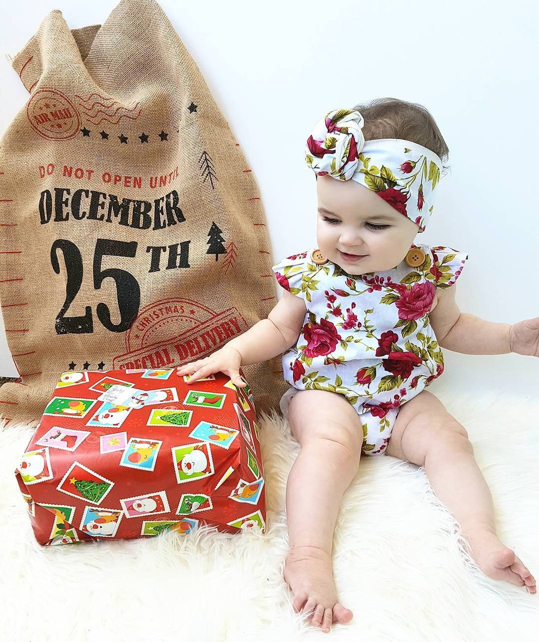 b40f5c753 Click to enlarge. HomeFashionBabies Newborn Baby Girl Clothes Flower  Jumpsuit Romper Bodysuit + Headband Outfits US
