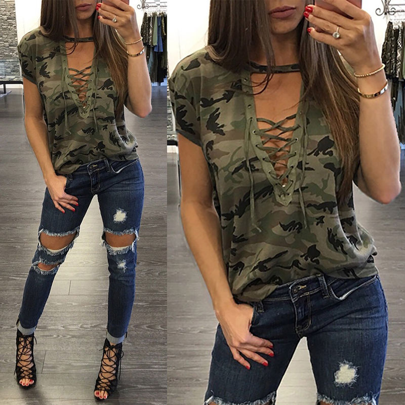 ccfe25ca9 Fashion Women Summer Loose Top Short Sleeve Blouse Ladies Casual ...