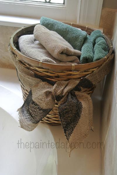 towel basket with burlap thepaintedapron.com