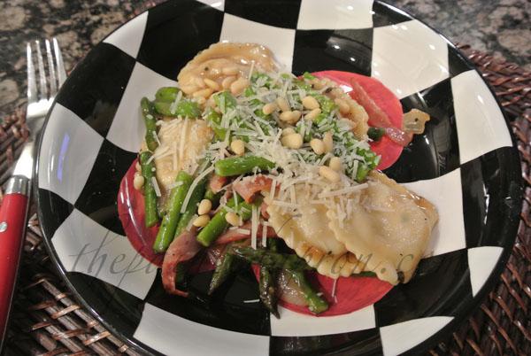 ravioli with ham and asparagus thepaintedapron.com