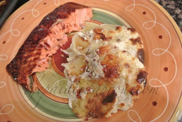 salmon and scalloped potato gratin thepaintedapron.com