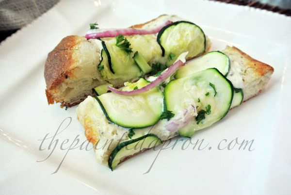 Zucchini and red onion pizza 4 thepaintedapron.com