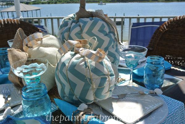 beach pumpkin table thepaintedapron.com