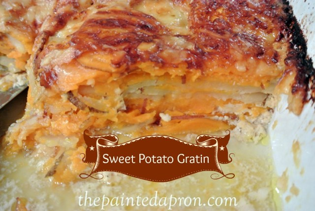 sweet and russet potato gratin thepaintedapron.com