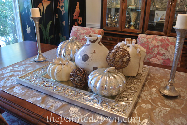 white and silver pumpkin centerpiece thepaintedapron.com
