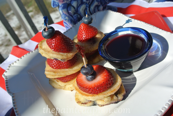 red white and blueberry pancake skewer thepaintedapron.com