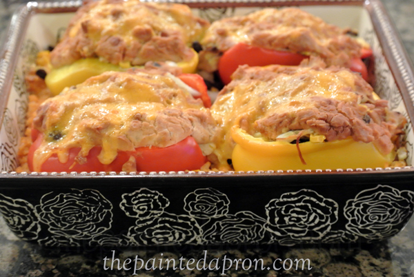 Mexican peppers and rice thepaintedapron.com