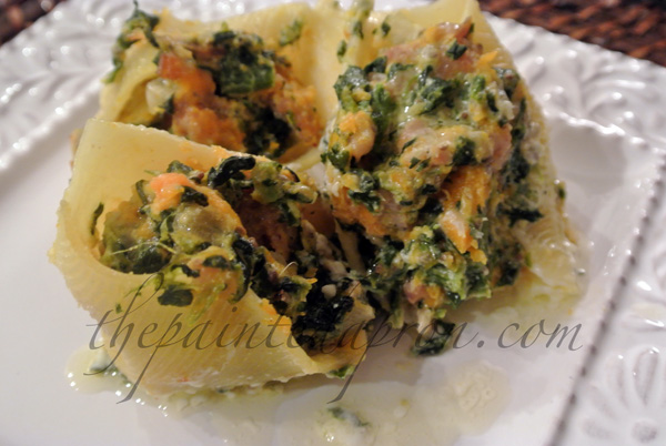 triple stuffed shells with sage butter thepaintedapron.com