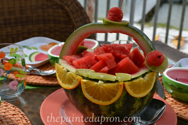 melon basket centerpiece thepaintedapron.com