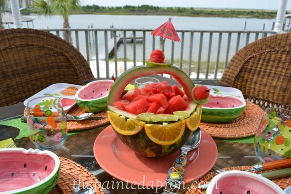 watermelon basket table thepaintedapron.com