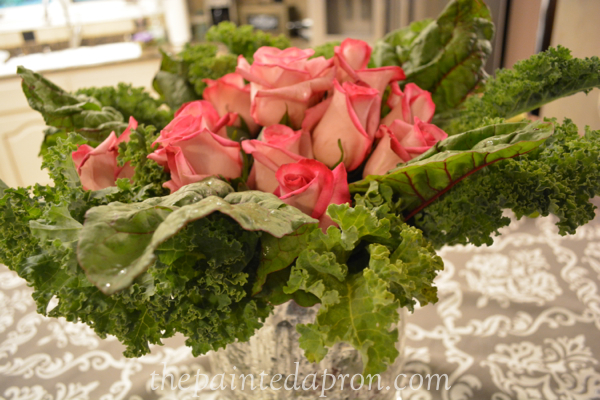 roses with kale and swiss chard thepaintedapron.com