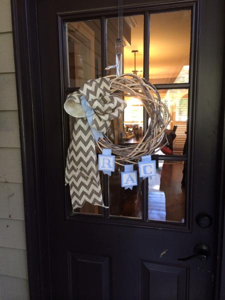 mongram wreath thepaintedapron.com