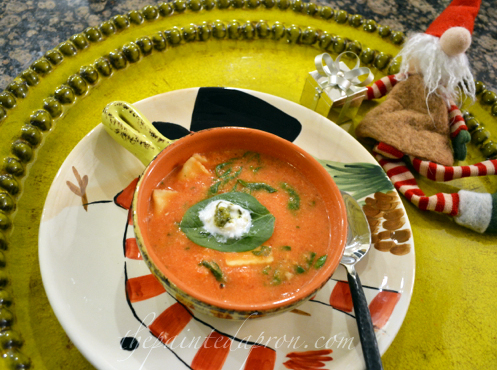 Chobani Tomato soup with pasta and spinach thepaintedapron.com