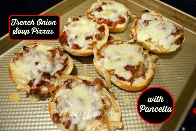 onion soup pizzas thepaintedapron.com