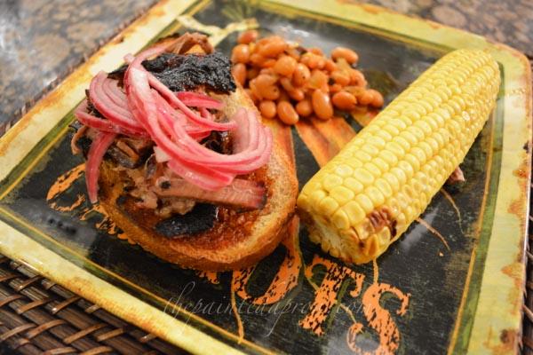 open face brisket sandwich thepaintedapron.com