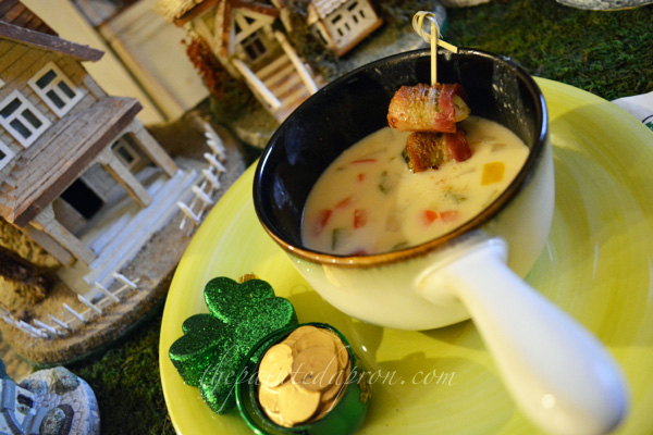 beer cheese soup with brussel sprouts and bacon thepaintedapron.com