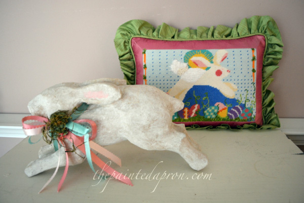 bunny needlepoint pillow thepaintedapron.com