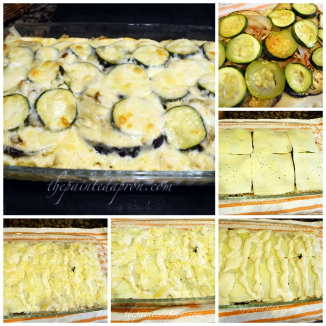 veggie lasagna collage