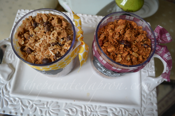 almond joy and peanut butter & jelly granola thepaintedapron.com