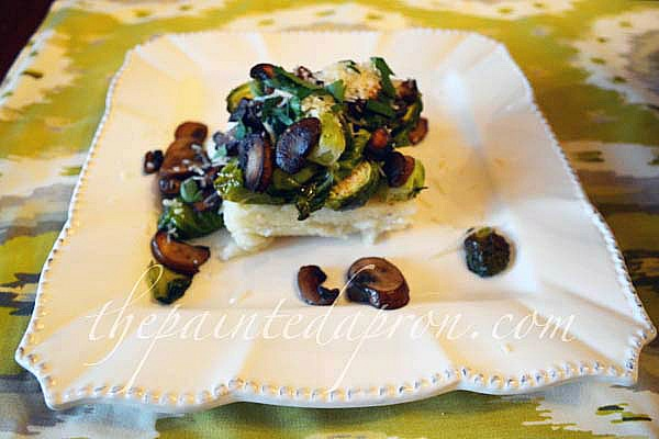 roasted brussel sprouts, mushrooms grits cake thepaintedapron.com