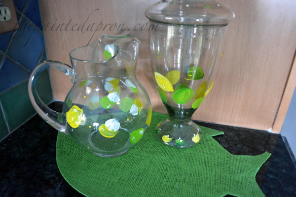 lemon lime pitcher and jar thepaintedapron.com