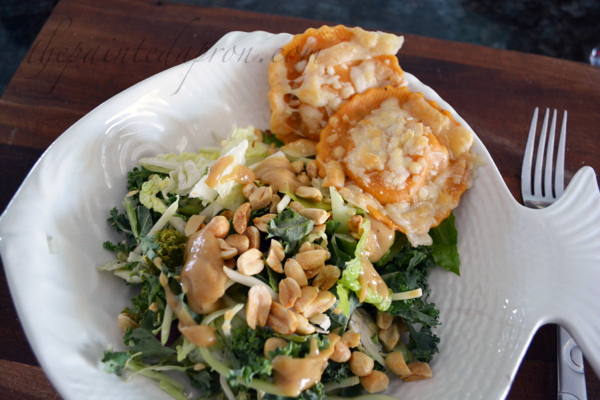power peanut salad with ravioli croutons