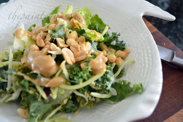 power salad with peanut dressing thepaintedapron.com