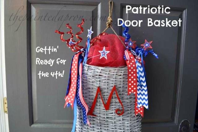 red white and blue door basket thepaintedapron.com