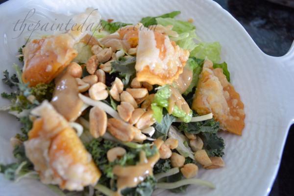 salad with ravioli croutons thepaintedapron.com
