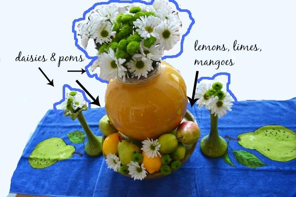 daisies & poms with fruit thepaintedapron.com