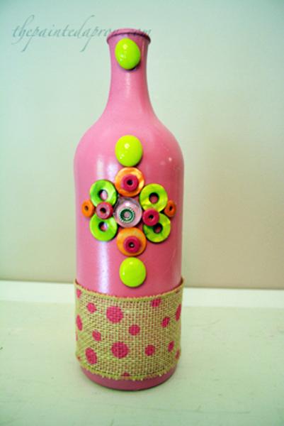 pink bling bottle vase thepaintedapron.com