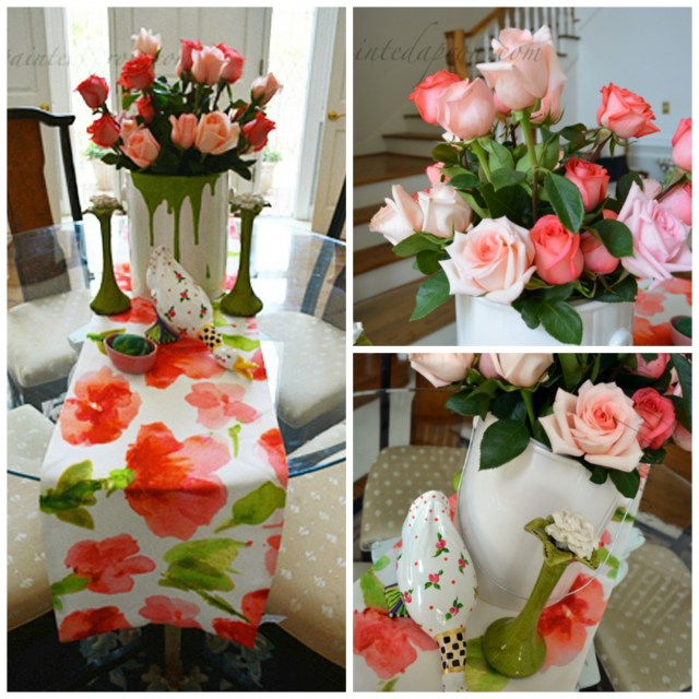 pink rose collage thepaintedapron.com