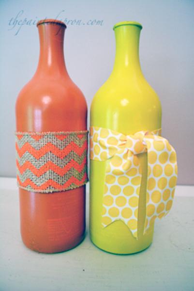 ribbon wrapped bottles thepaintedapron.com