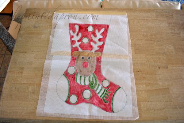 rudolf hand painted needlepoint canvas thepaintedapron.com