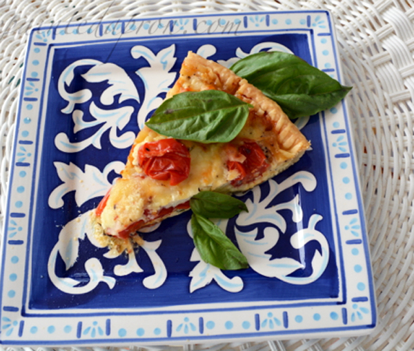 summer cherry tomato pie thepaintedapron.com