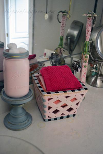 cotton ball jar and washcloth box thepaintedapron.com
