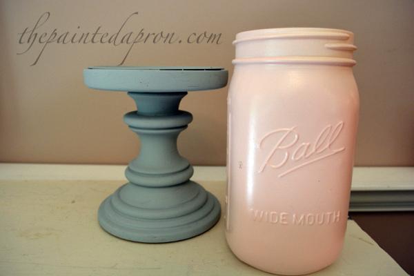 painted pedestal & jar thepaintedapron.com