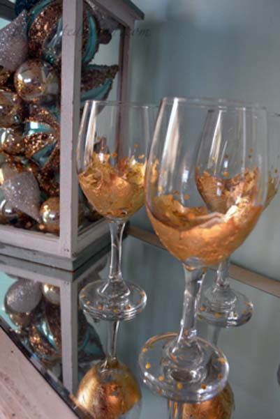 golden goblets with dots
