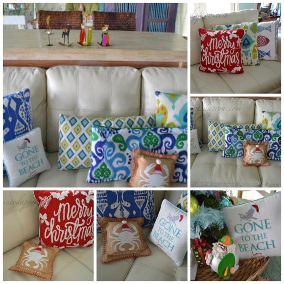 Beach Christmas pillows