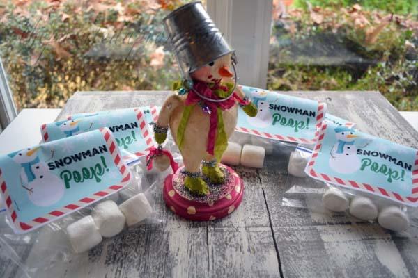 snowman poop party favors