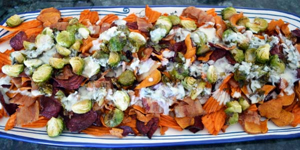 sweet potato nachos with brussels sprouts and bleu