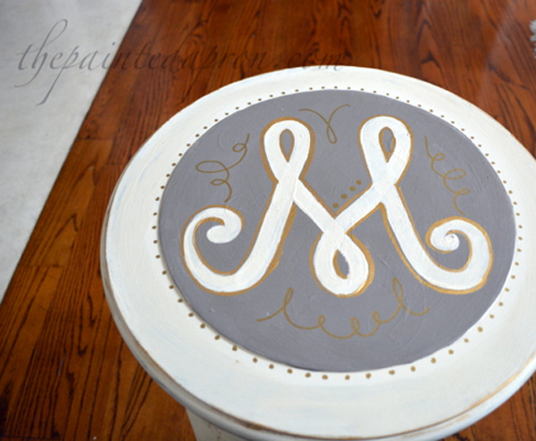 Monogrammed side table