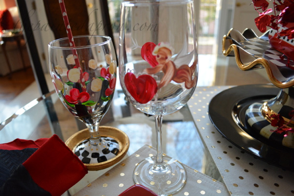 painted Valentine glasses