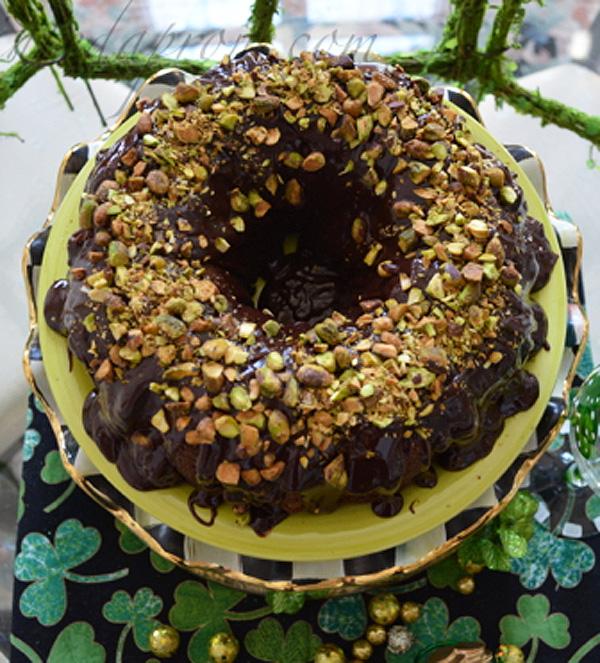chocolate ganache pistachio cake
