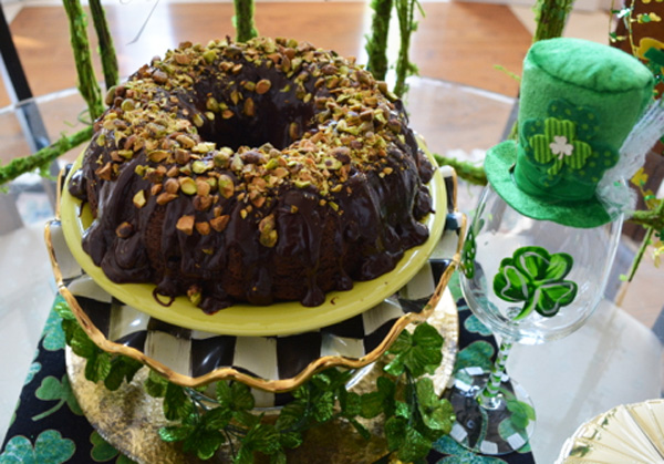 pistachio topped choc cake