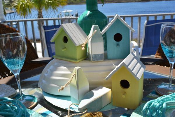 beach bird house centerpiece
