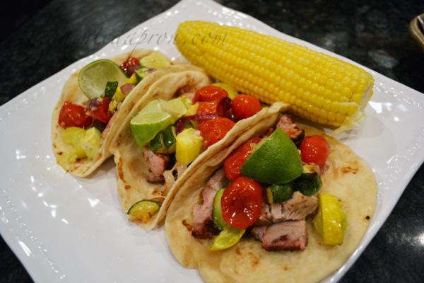 lime garnished pork tacos