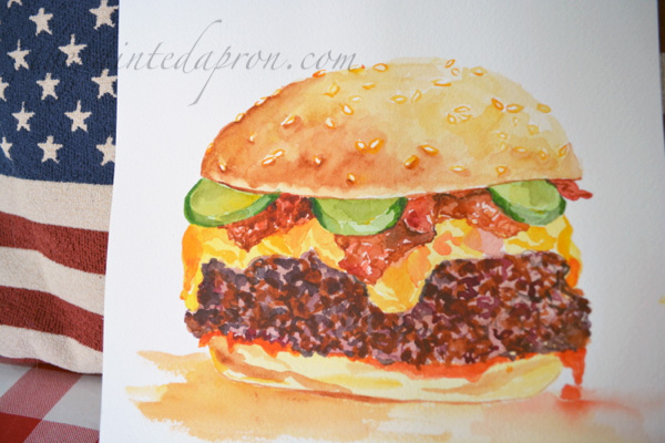 watercolor burger